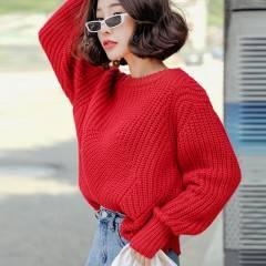 韩都衣舍2018秋新款女装韩版圆领宽松慵懒毛衣针织衫NH9459